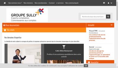 Capture d'écran du site de Groupe Sully