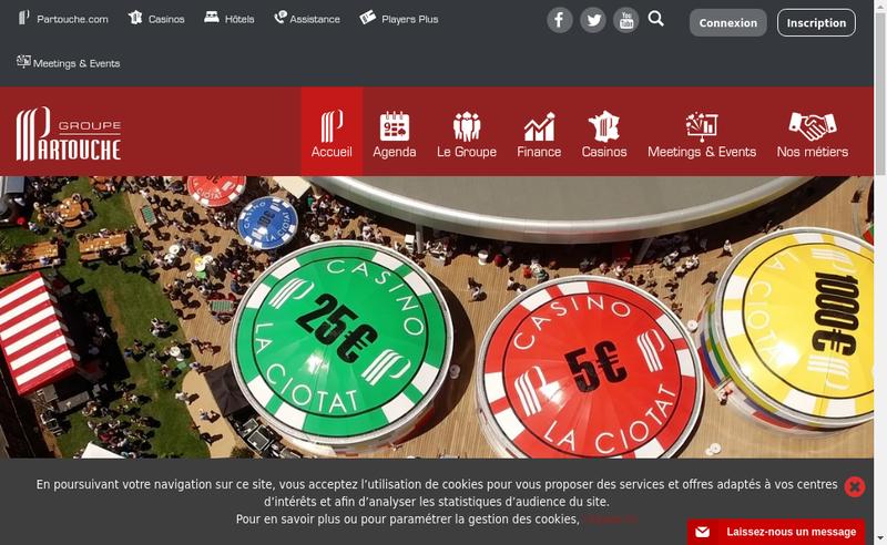 Capture d'écran du site de Groupe Partouche