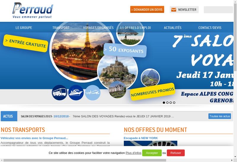 Capture d'écran du site de Perraud Voyages