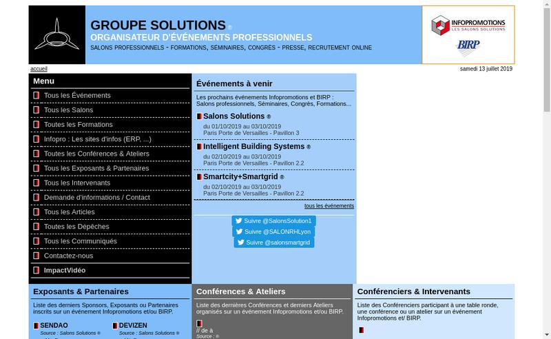 Capture d'écran du site de Infopromotions