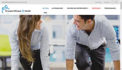 Capture d'écran du site de Groupe Ethique et Sante