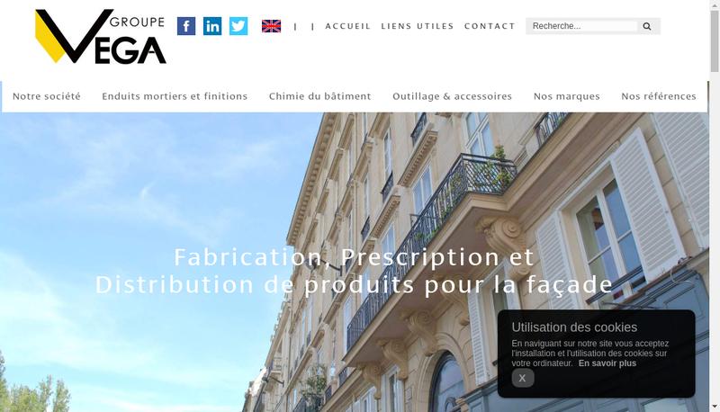 Capture d'écran du site de Groupe Vega