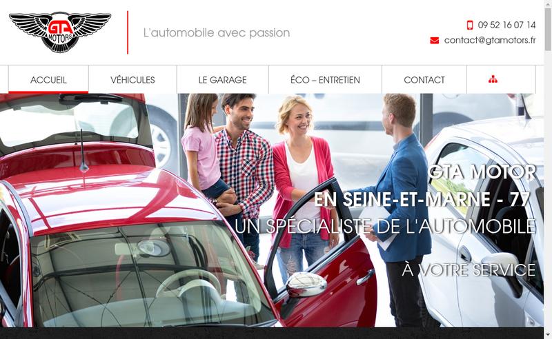 Capture d'écran du site de Gta Motors
