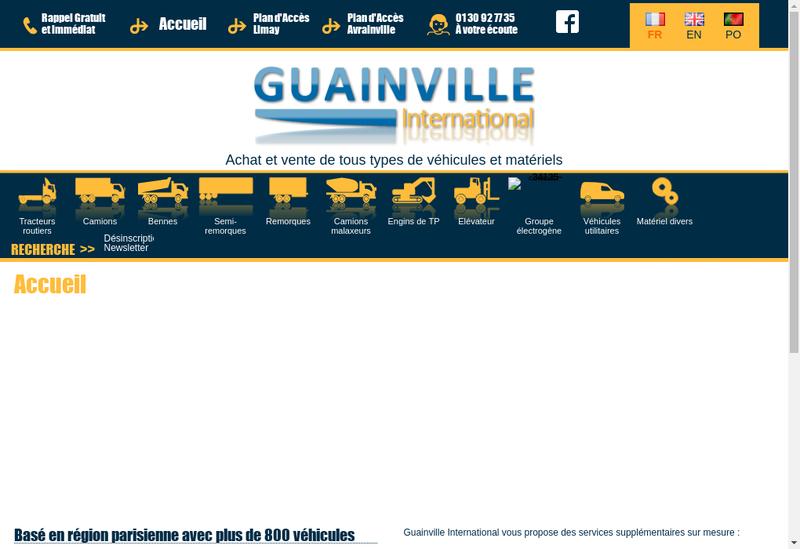 Capture d'écran du site de Guainville International