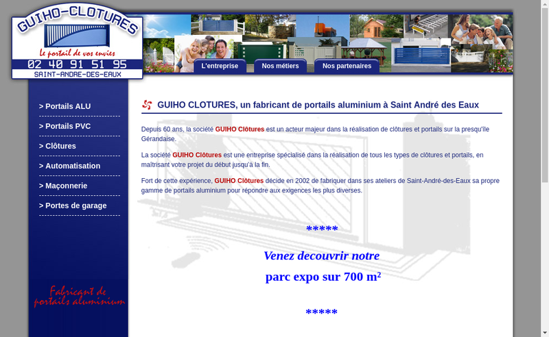 Capture d'écran du site de Guiho Clotures