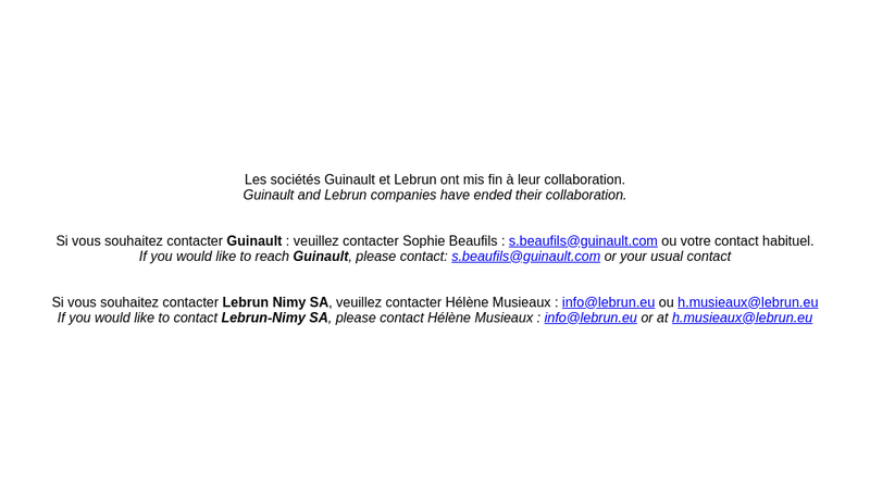 Capture d'écran du site de Guinault SA