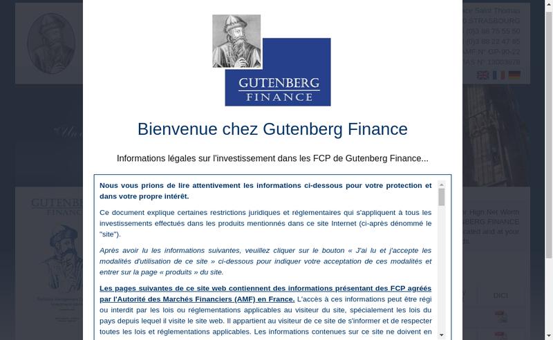 Capture d'écran du site de Gutenberg Finance