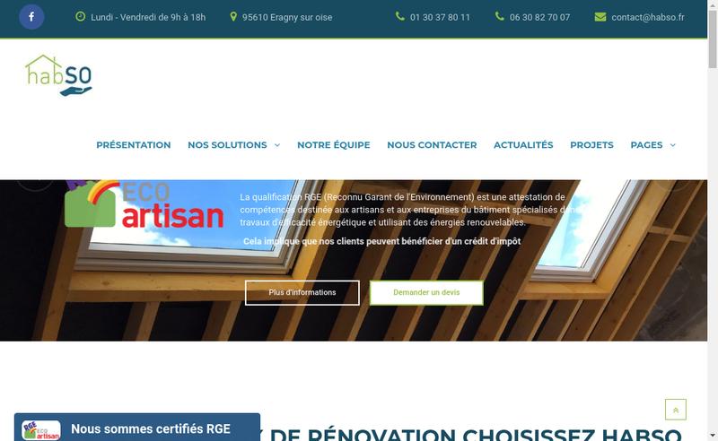 Capture d'écran du site de Habso