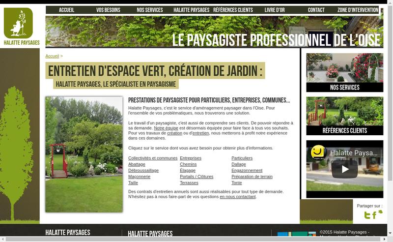Capture d'écran du site de Halatte Paysages