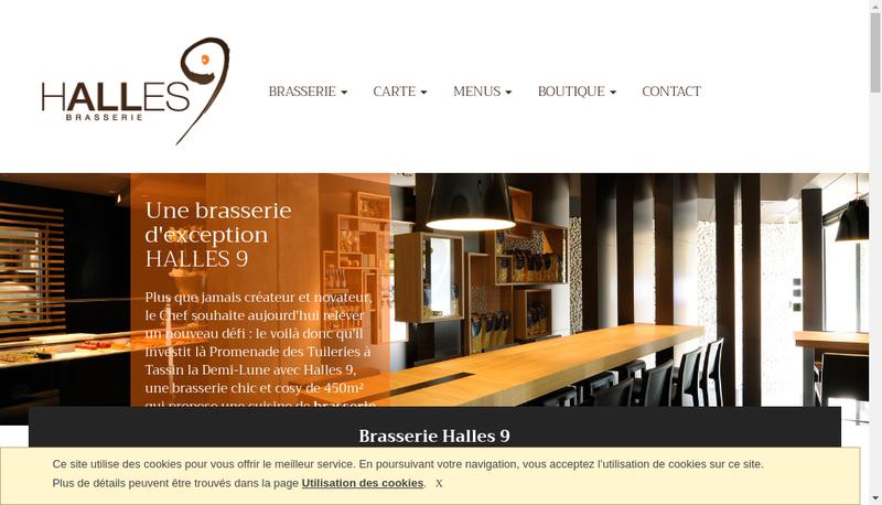Capture d'écran du site de Brasserie Halles 9
