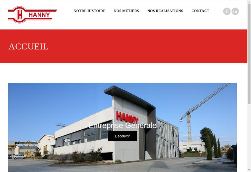 Capture d'écran du site de Etablissements Hanny