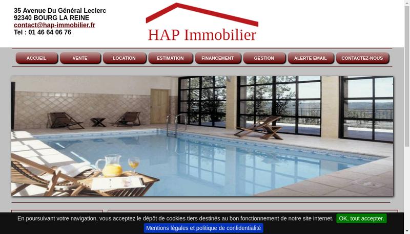 Capture d'écran du site de Hap Immobilier