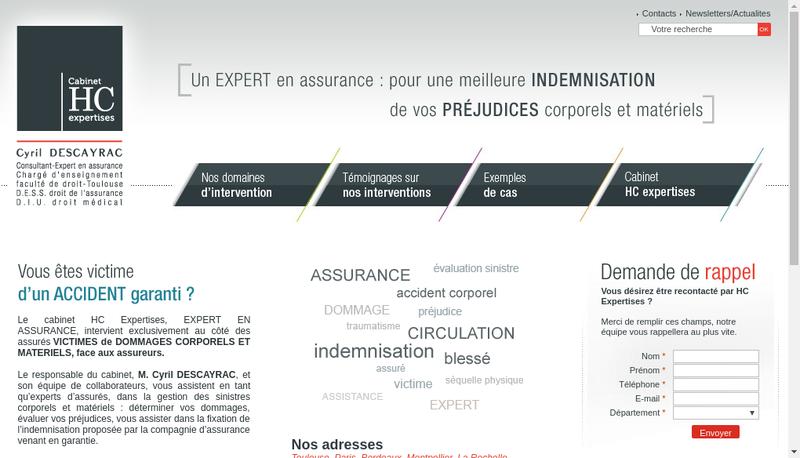 Capture d'écran du site de HC Expertises