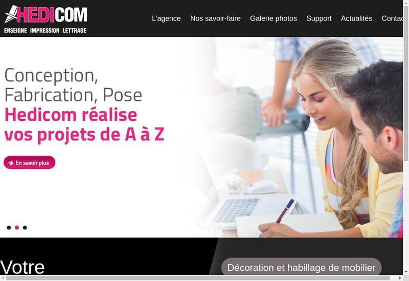 Capture d'écran du site de Hedicom