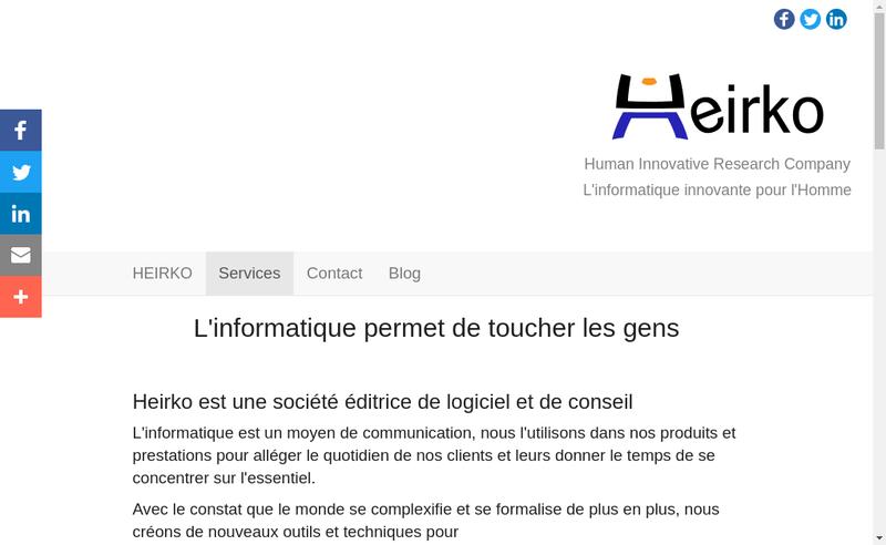 Capture d'écran du site de Heirko
