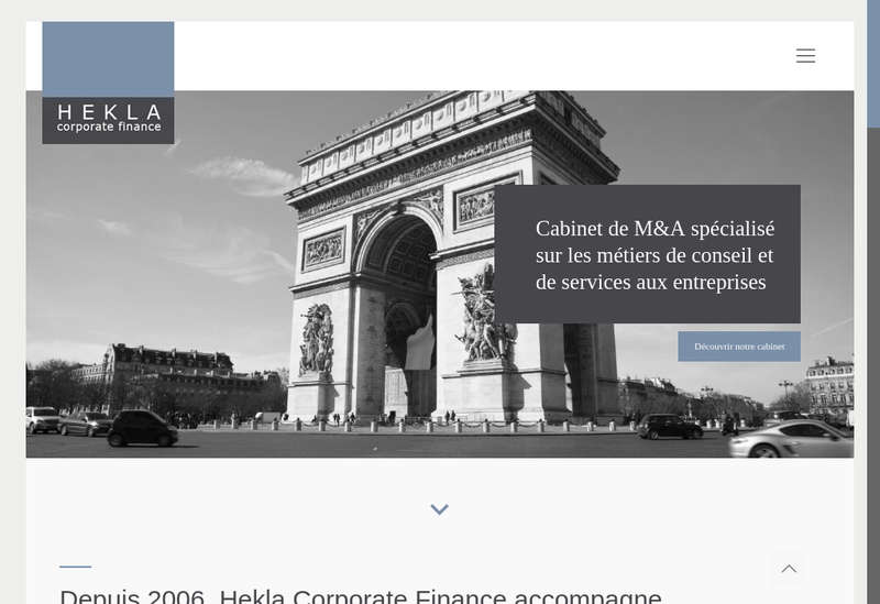 Capture d'écran du site de Hekla Corporate Finance