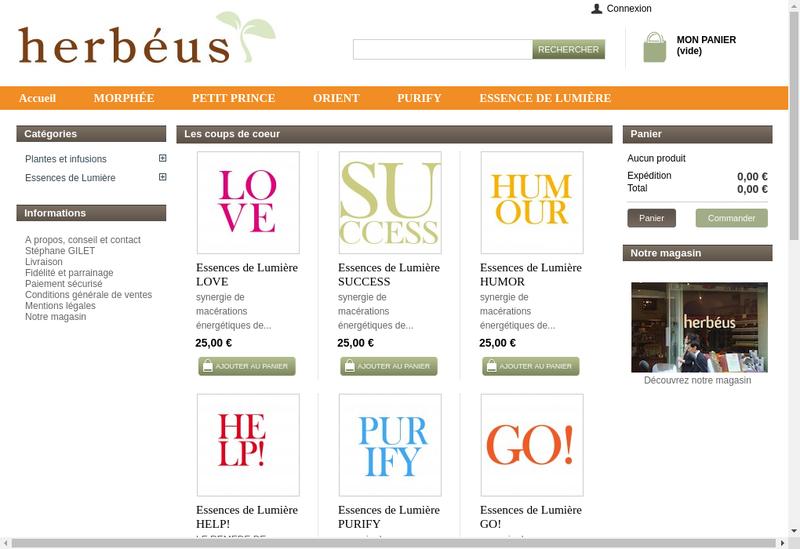 Capture d'écran du site de Herbeus