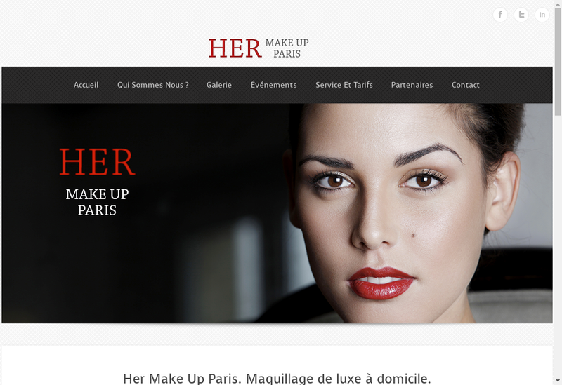 Capture d'écran du site de Her Make Up Paris