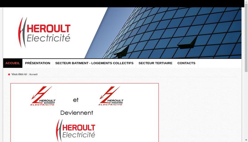 Capture d'écran du site de Heroult Electricite