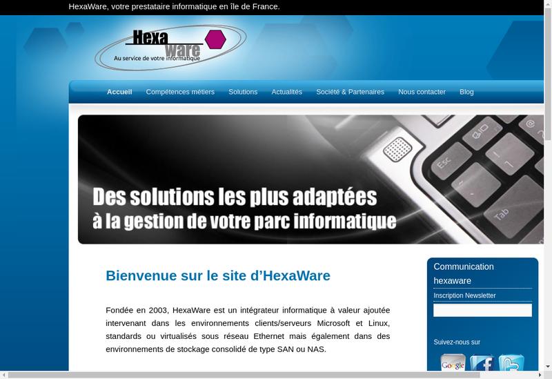 Capture d'écran du site de Hexaware
