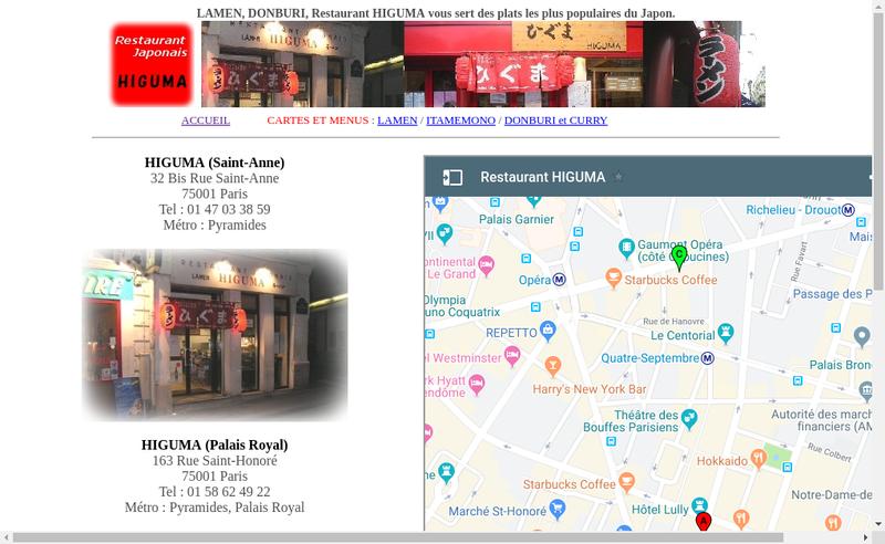 Capture d'écran du site de Edokko