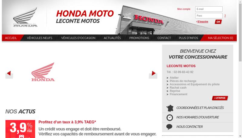 Capture d'écran du site de Leconte Motos