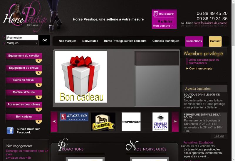 Capture d'écran du site de Horse Prestige