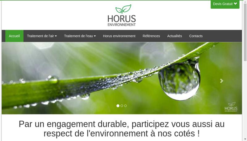 Capture d'écran du site de Horus Environnement