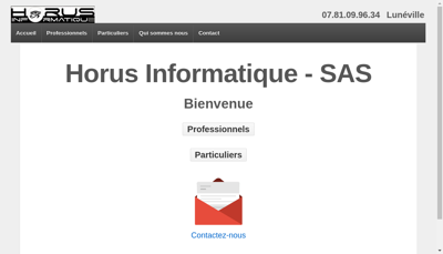 Capture d'écran du site de Horus Informatique