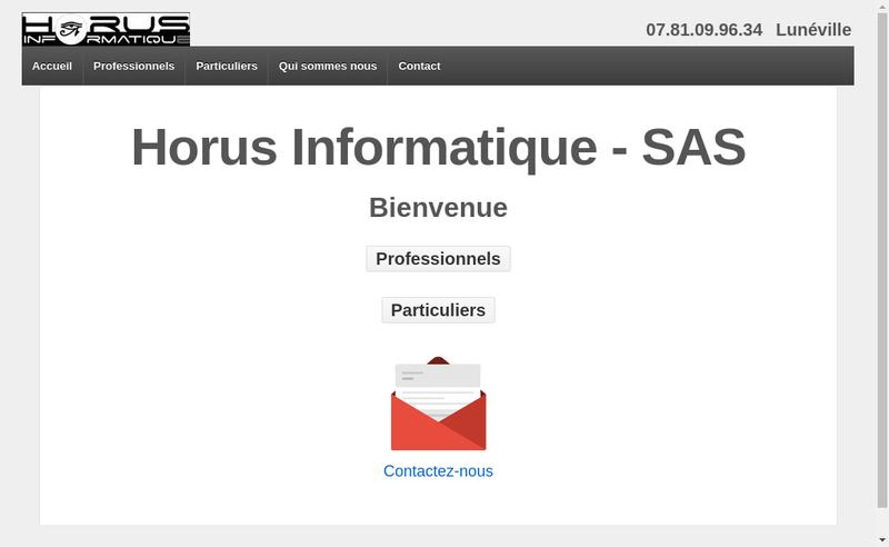 Capture d'écran du site de Horus Informatique