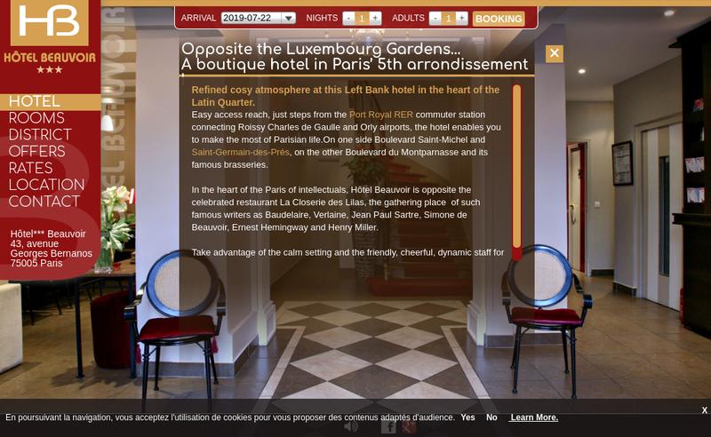 Capture d'écran du site de Hotel Beauvoir