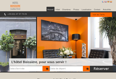 Capture d'écran du site de Hotel Boissiere