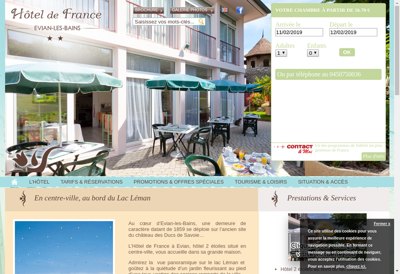 Capture d'écran du site de Hotel de France