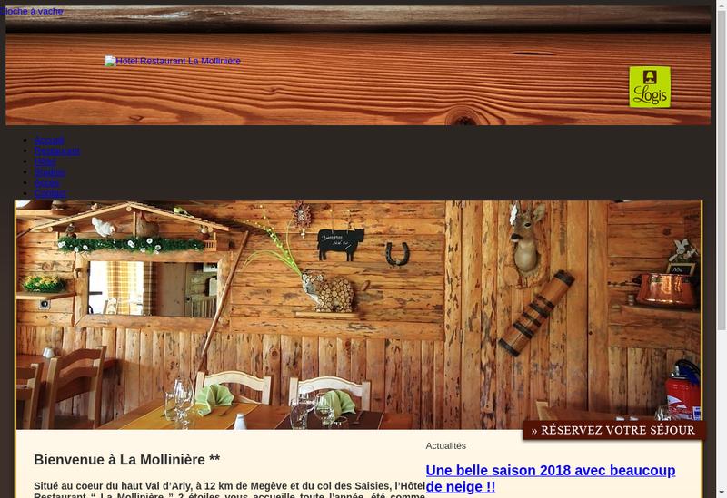 Capture d'écran du site de La Molliniere