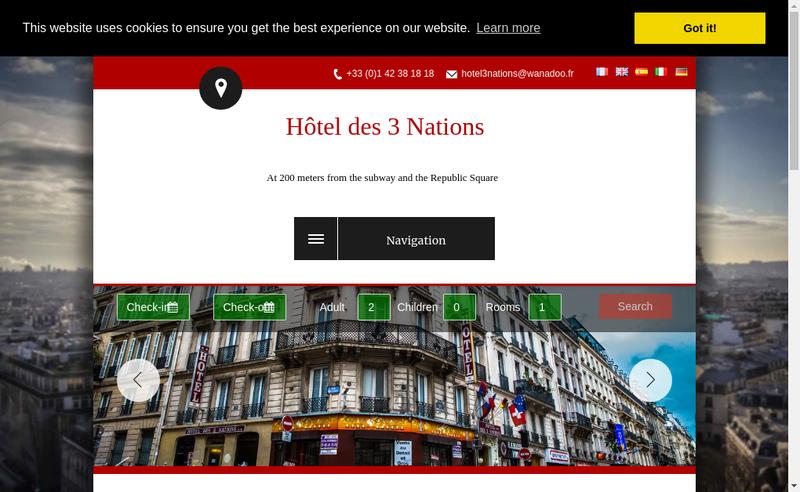 Capture d'écran du site de Hotel des Trois Nations