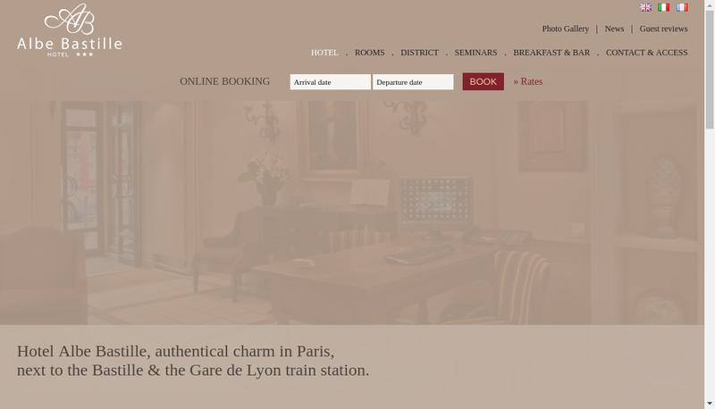 Capture d'écran du site de Hotel Albe Bastille