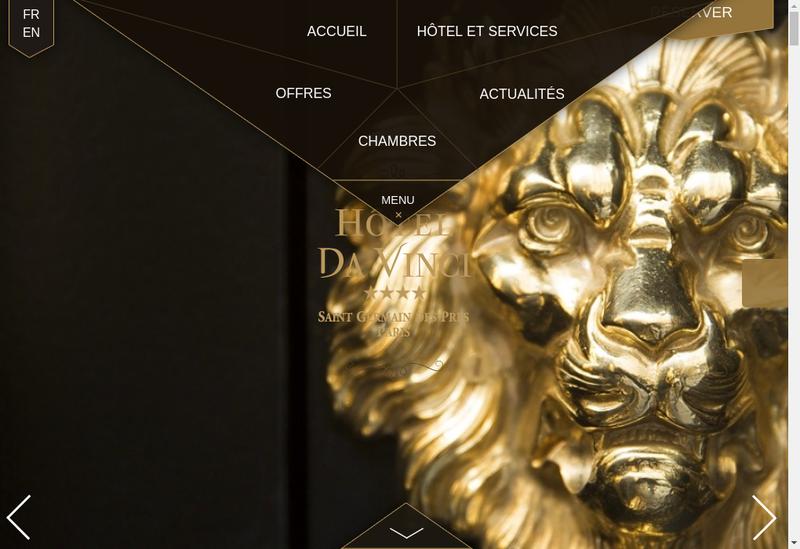 Capture d'écran du site de Hotel Da Vinci