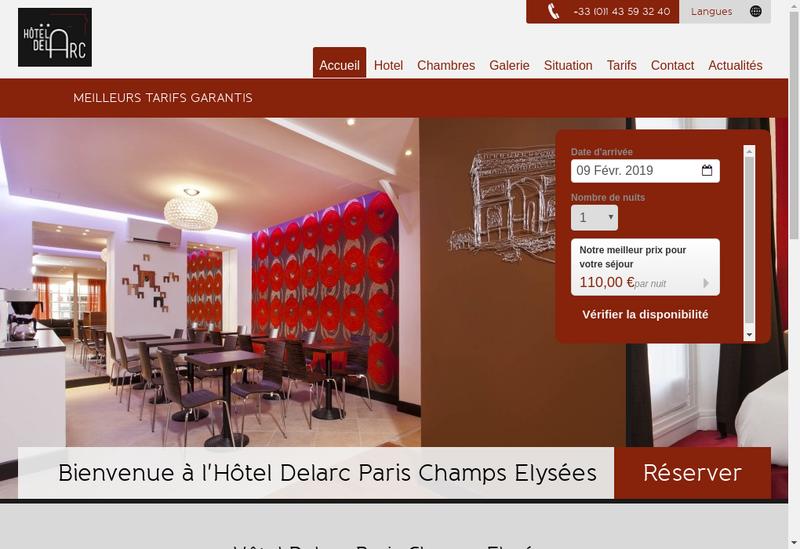 Capture d'écran du site de Hotel Delarc