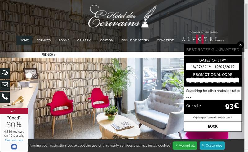 Capture d'écran du site de Hotel des Ecrivains