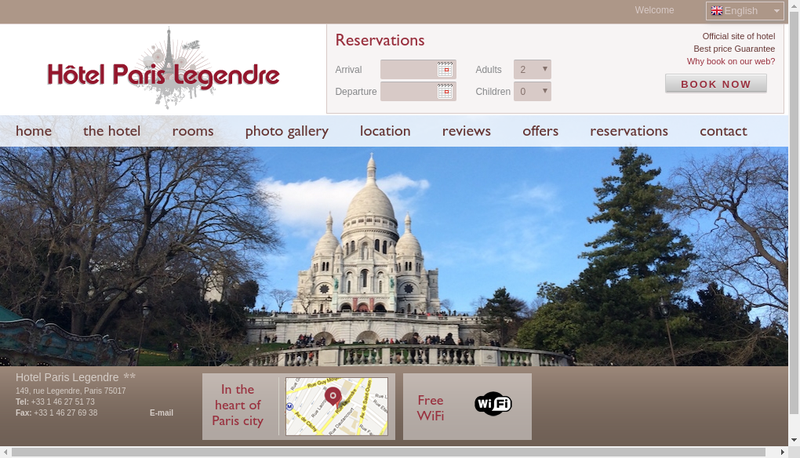 Capture d'écran du site de Paris Legendre