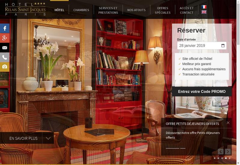 Capture d'écran du site de Hotel Relais St Jacques Jardin Lux