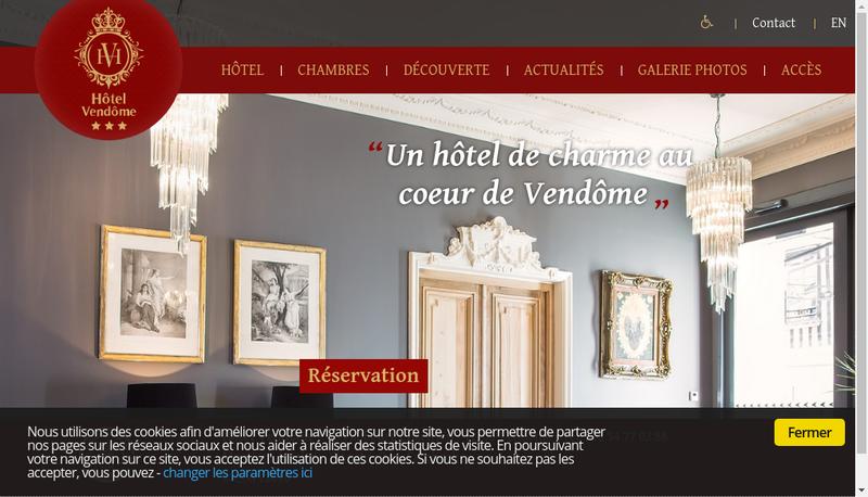 Capture d'écran du site de Hotel Vendome