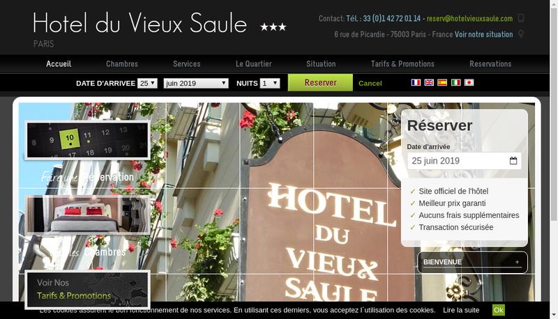 Capture d'écran du site de Hotel du Vieux Saule