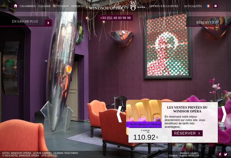 Capture d'écran du site de Hotel Windsor Opera