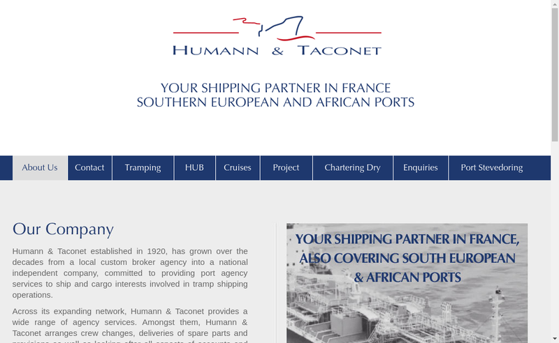 Capture d'écran du site de Agence Maritime Humann