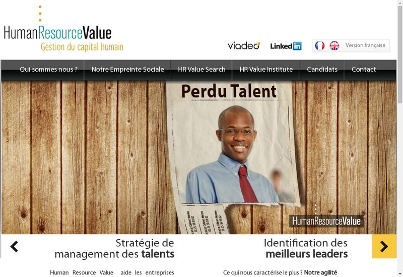 Capture d'écran du site de Human Resource Value