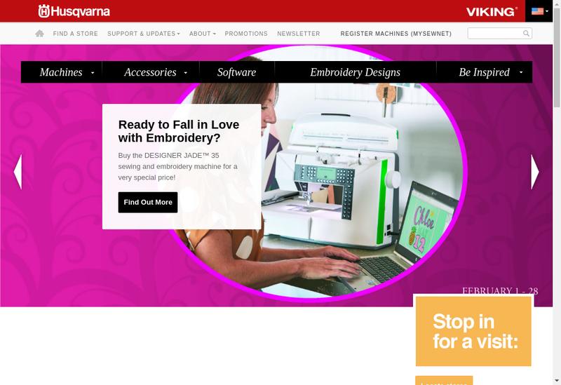 Capture d'écran du site de Husqvarna Viking