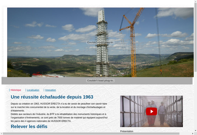 Capture d'écran du site de Hussor Erecta Societe