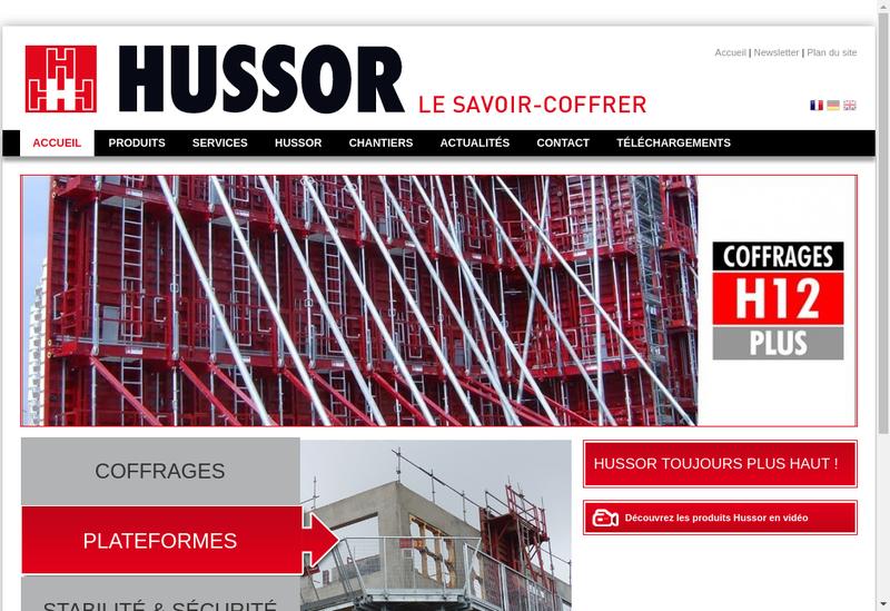 Capture d'écran du site de Hussor SA