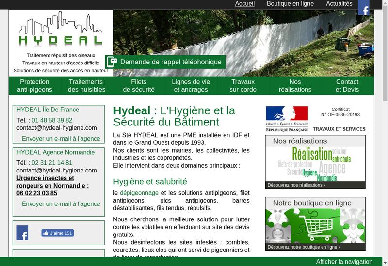 Capture d'écran du site de Hydeal